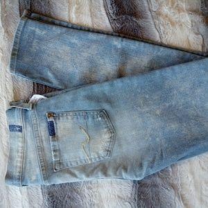 7FAM Light Wash Distressed Skinny Jeans 24